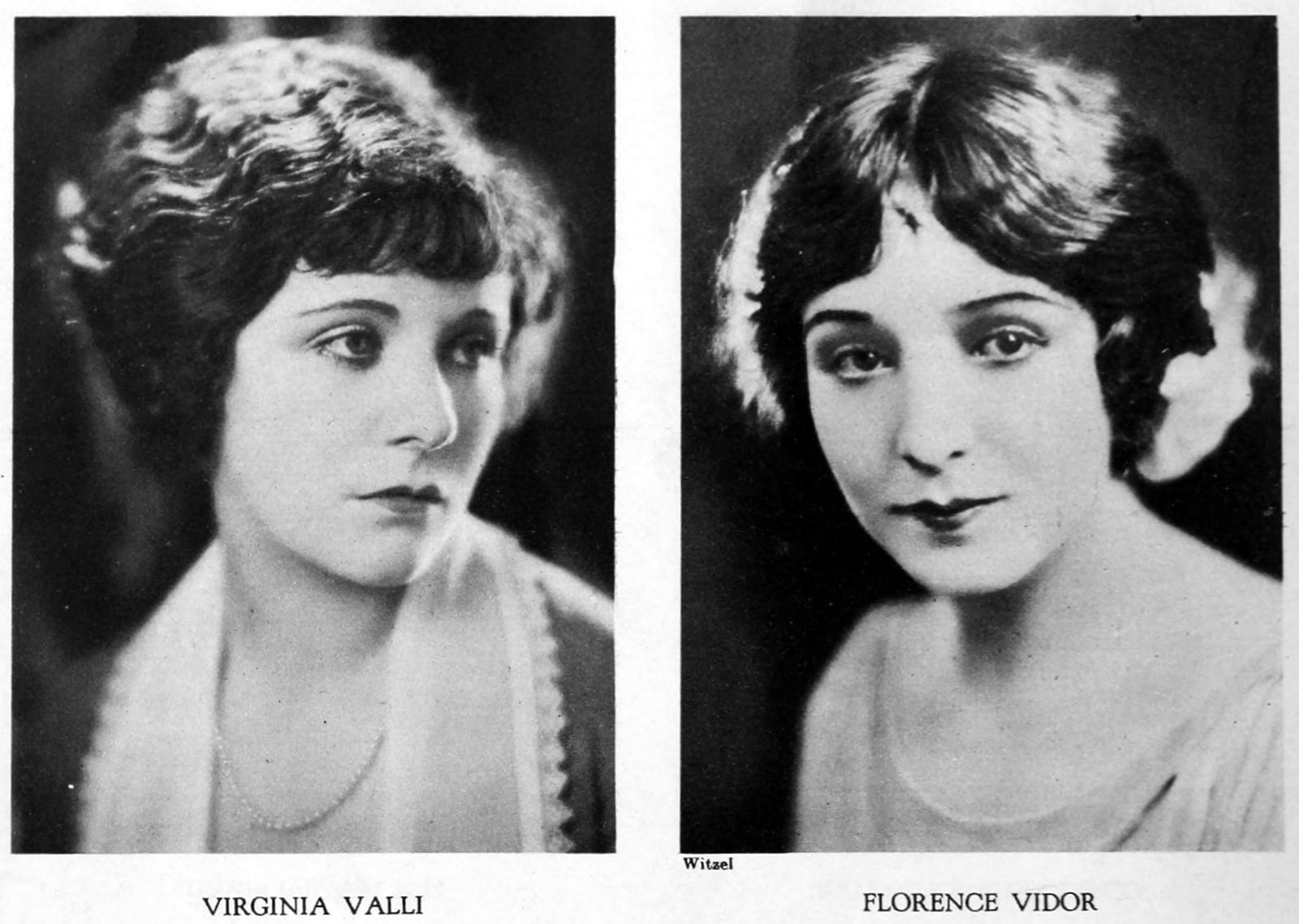 Vintage 1920s hairstyles for women - actresses Virginia Valli and Florence Vidor
