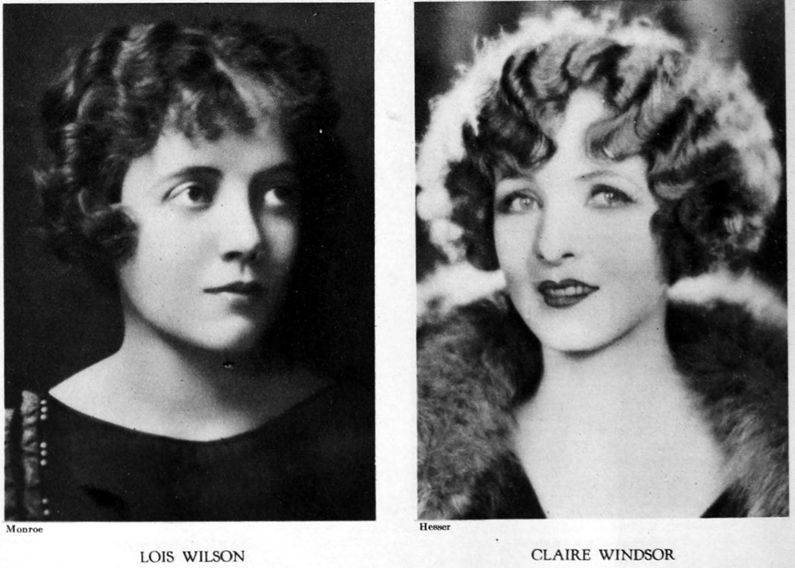 Vintage 1920s hairstyles on actresses Lois Wilson and Claire Windsor