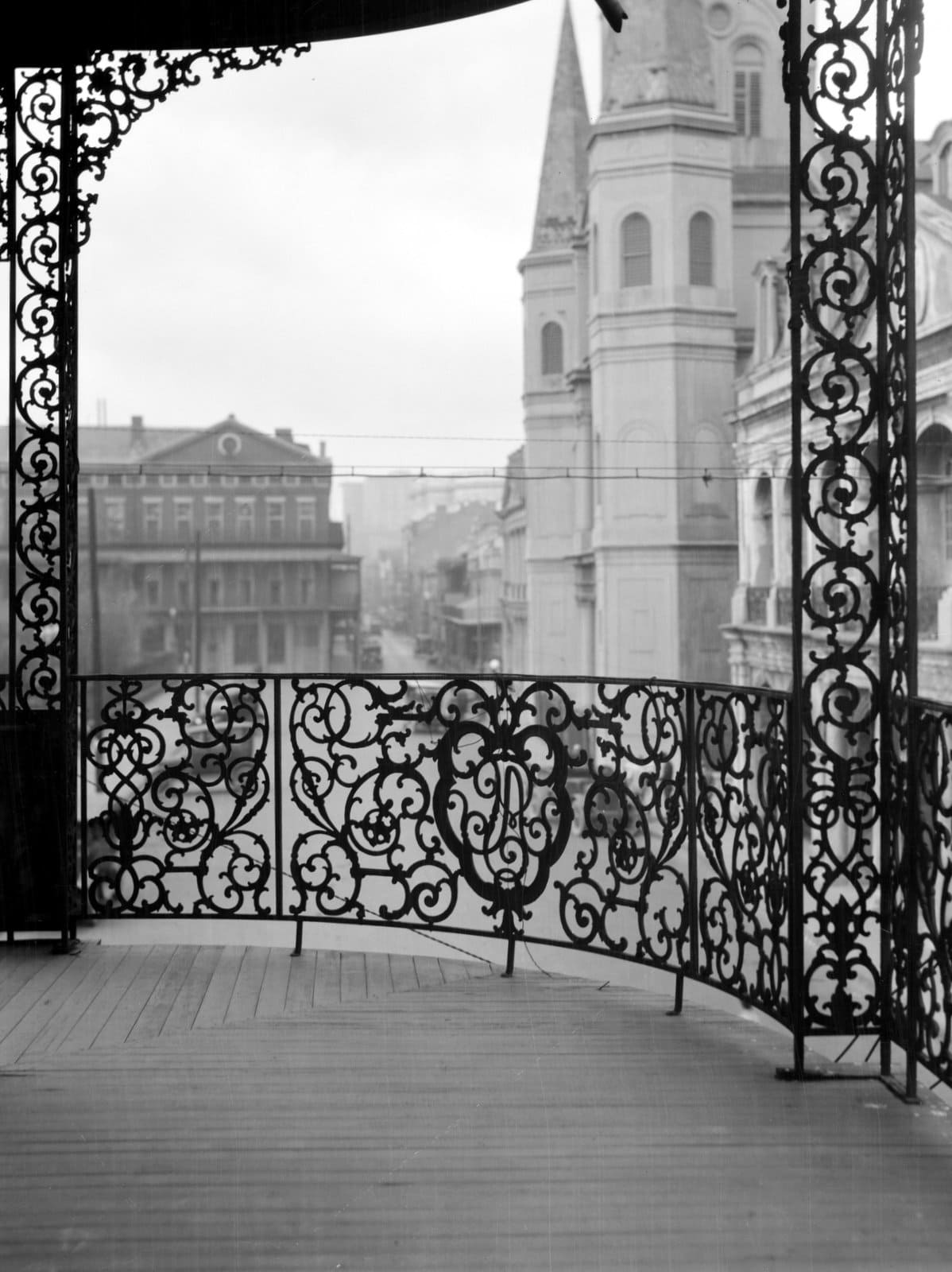 Vintage 1920s ironwork balcony - Pontalba buildings, New Orleans