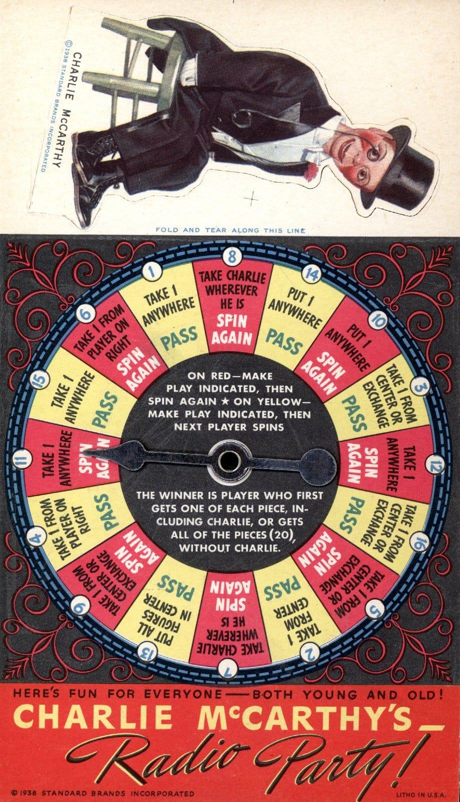 Vintage 1930s Charlie McCarthy board game