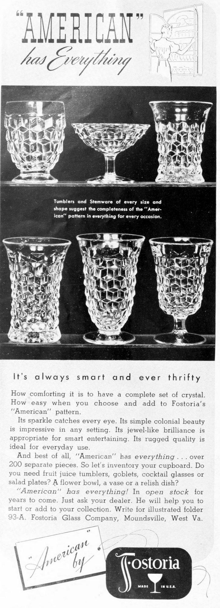 Vintage 1930s Fostoria American glassware (1939)
