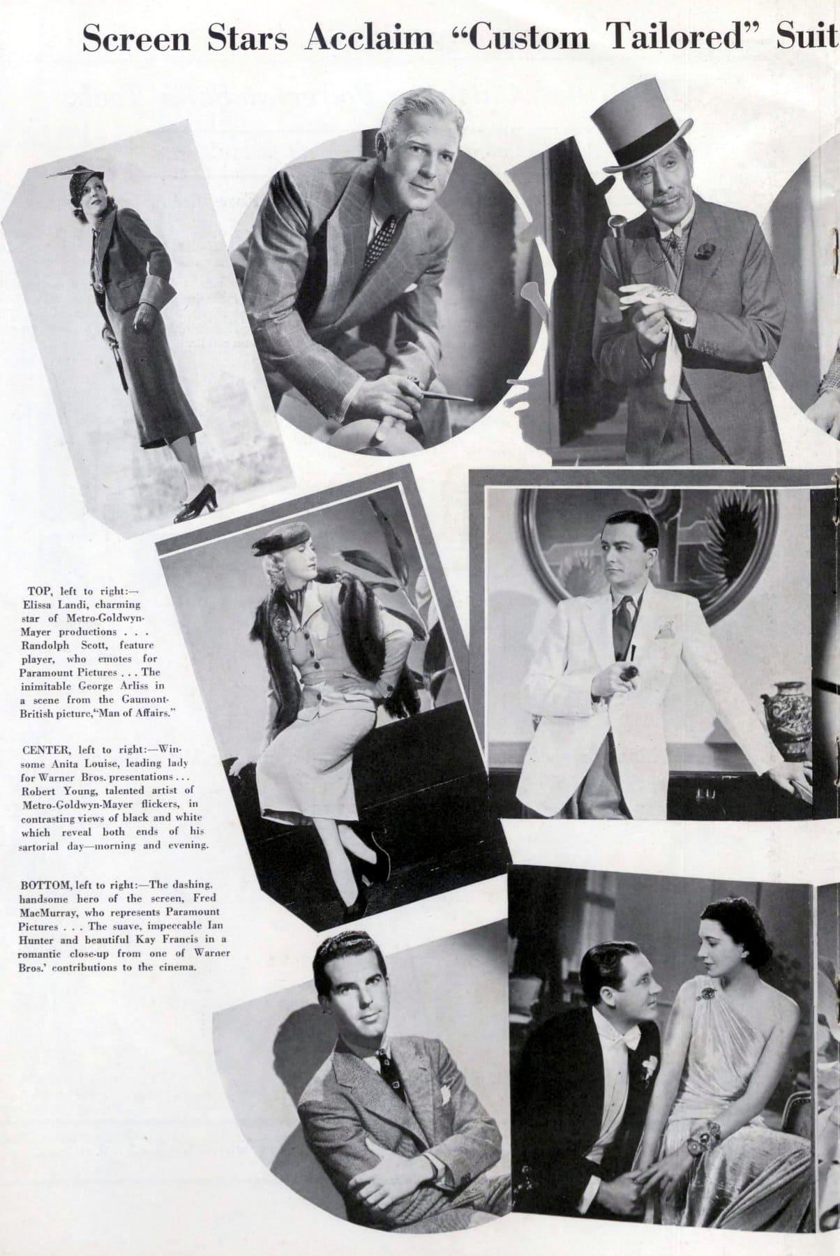 Vintage 1930s celebrities in suits (1937)