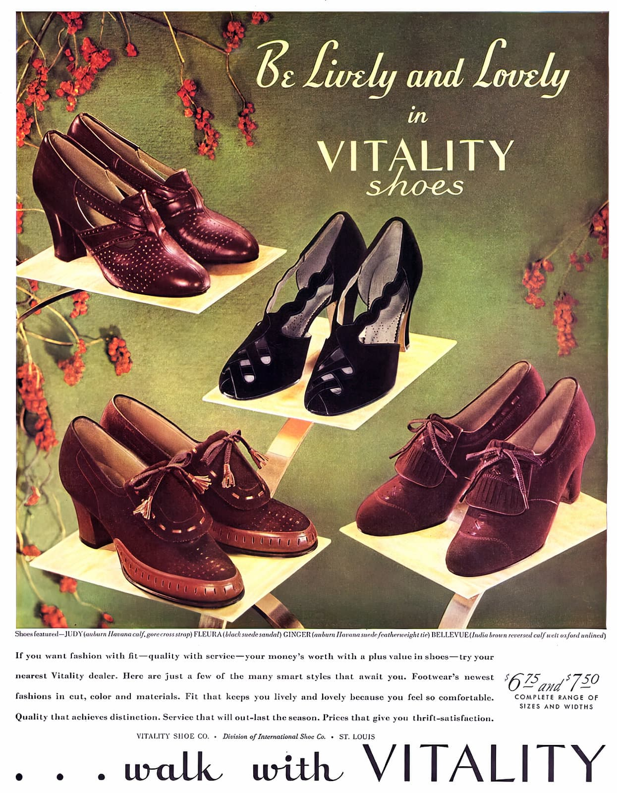 Vintage 1930s shoes for women - Vitality brand