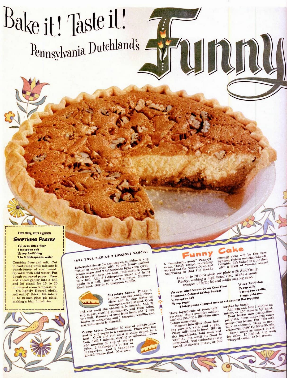 Vintage 1940s Funny Cake recipe A cake in a pie shell