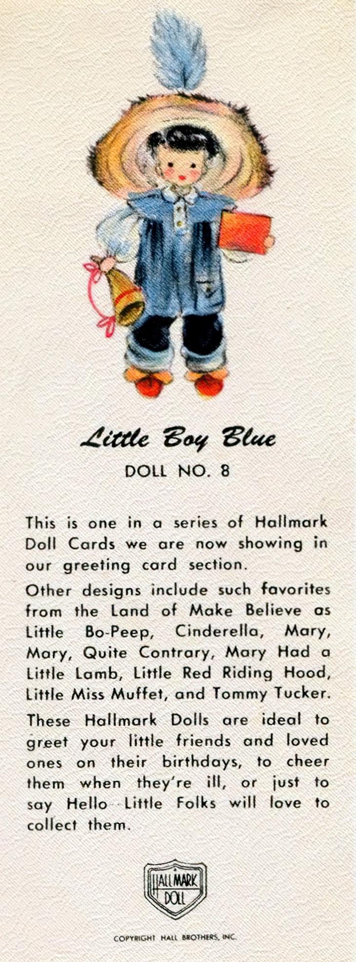 Vintage 1940s Hallmark Doll cards - Little Boy Blue