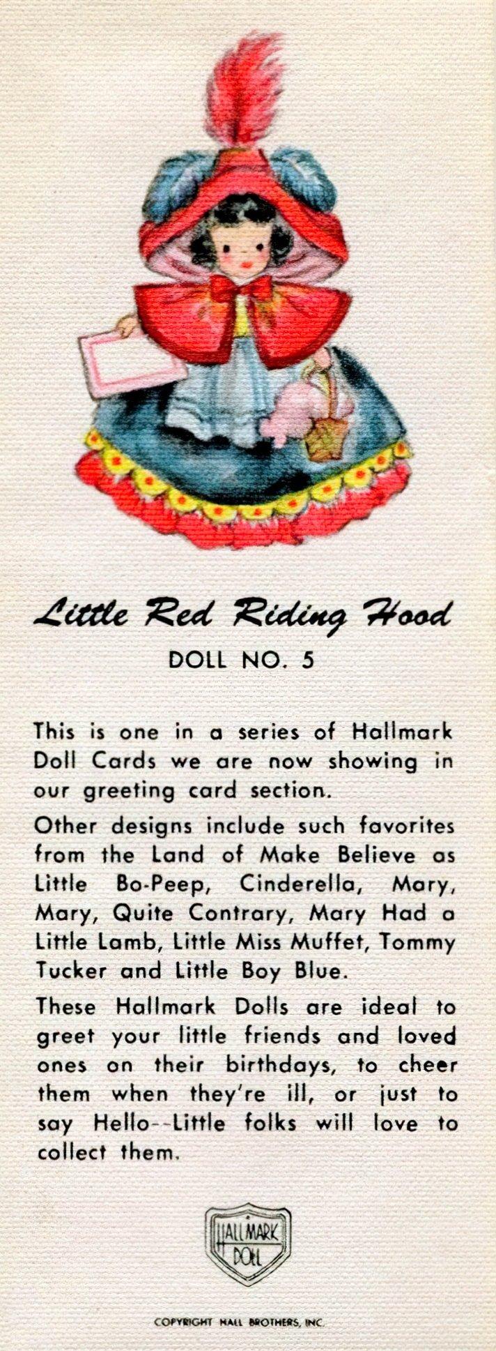 Vintage 1940s Hallmark Doll cards - Red Riding Hood