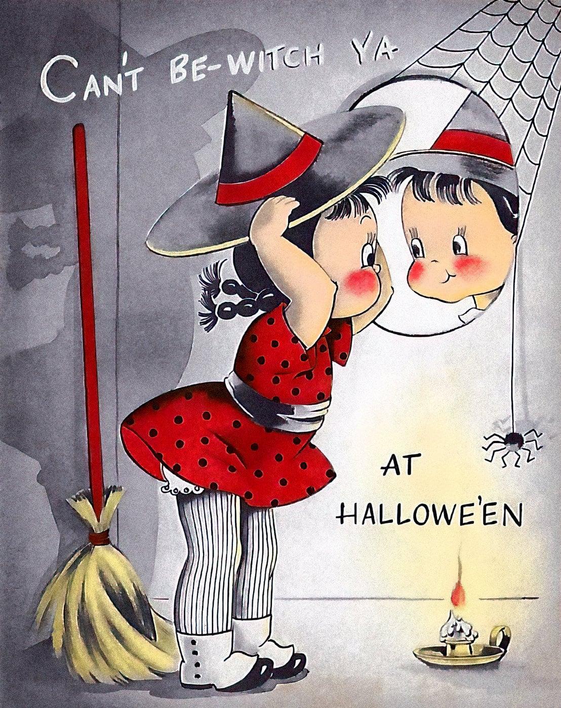 Vintage 1940s Halloween card
