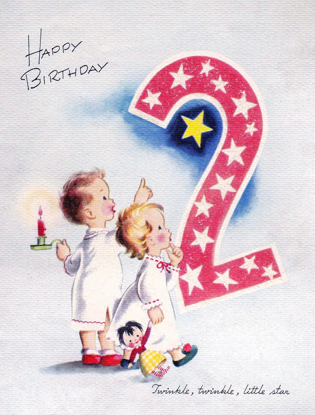 Vintage 1940s Happy Birthday card - 2 years old
