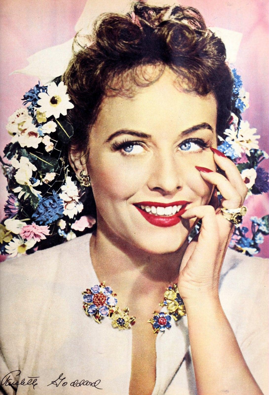 Vintage 1940s actress Paulette Goddard wearing red lipstick
