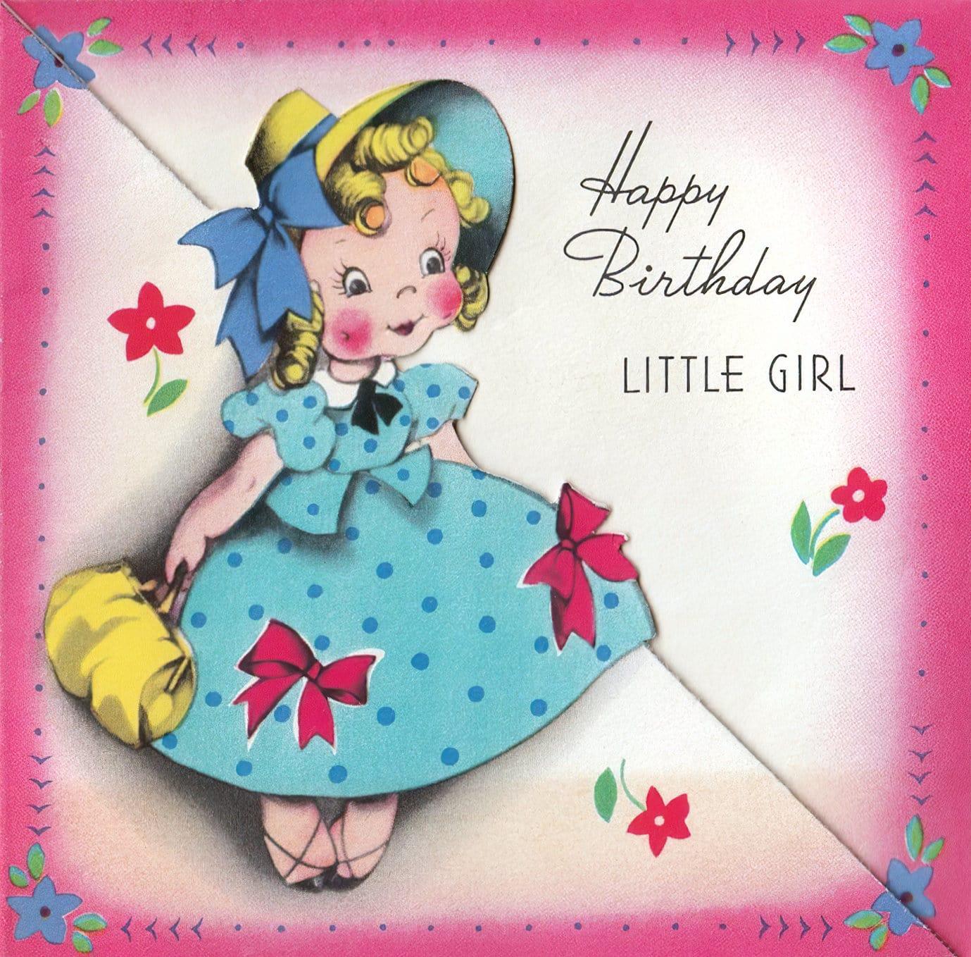 Vintage 1940s birthday card - Little girl