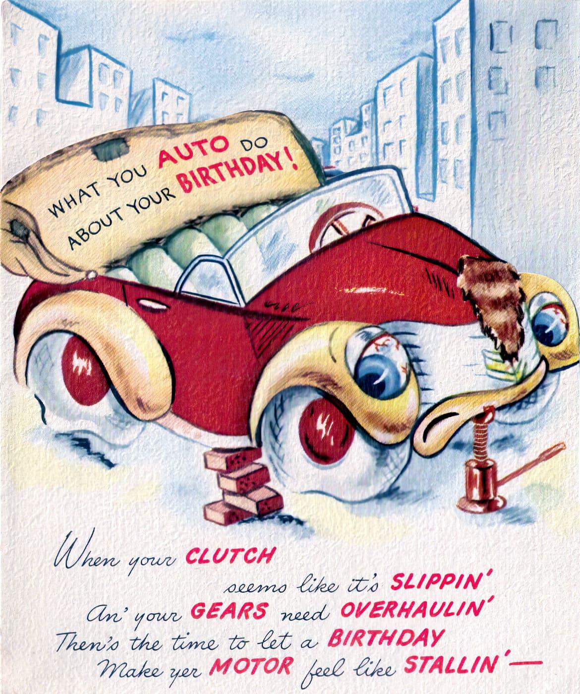 Vintage 1940s birthday card - Red car