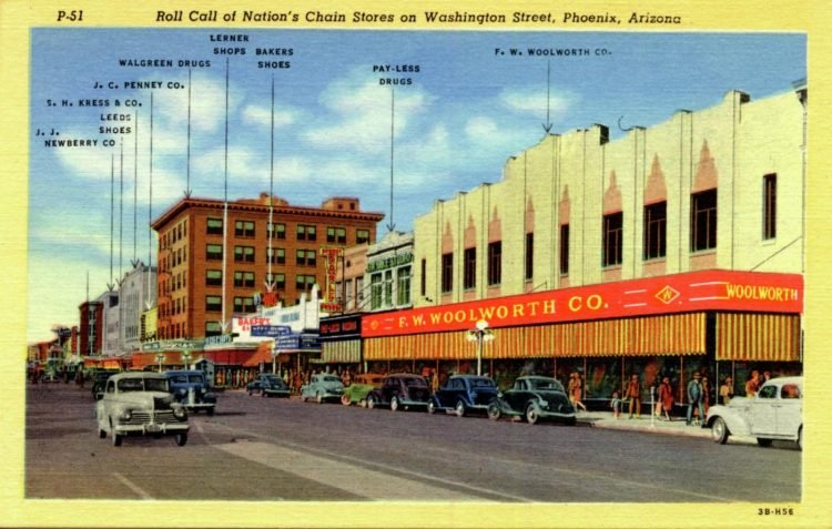 Vintage 1940s chain stores on Washington Street, Phoenix, Arizona