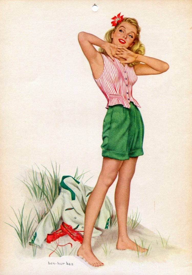 See vintage calendar girls from the forties