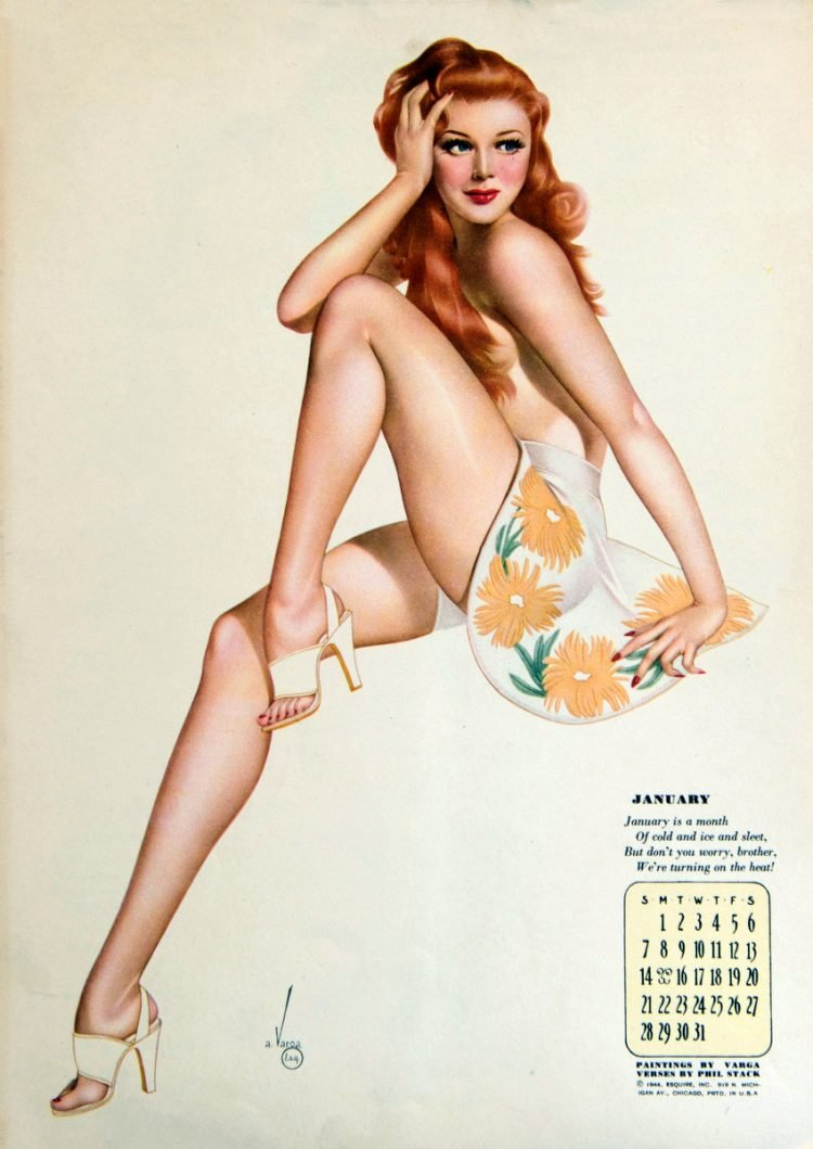 Vintage 1940s pinup models - calendar girls