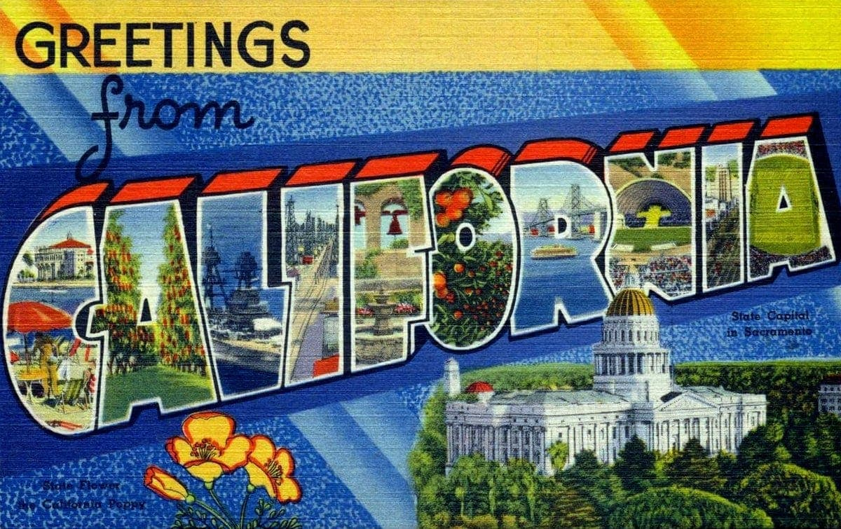 Vintage 1940s postcard - Greetings from California