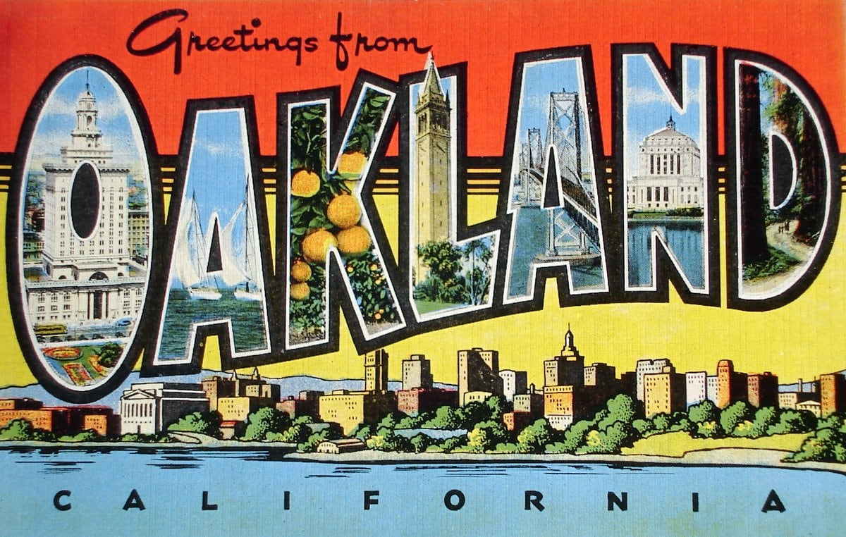 Vintage 1940s postcard Greetings from Oakland, California