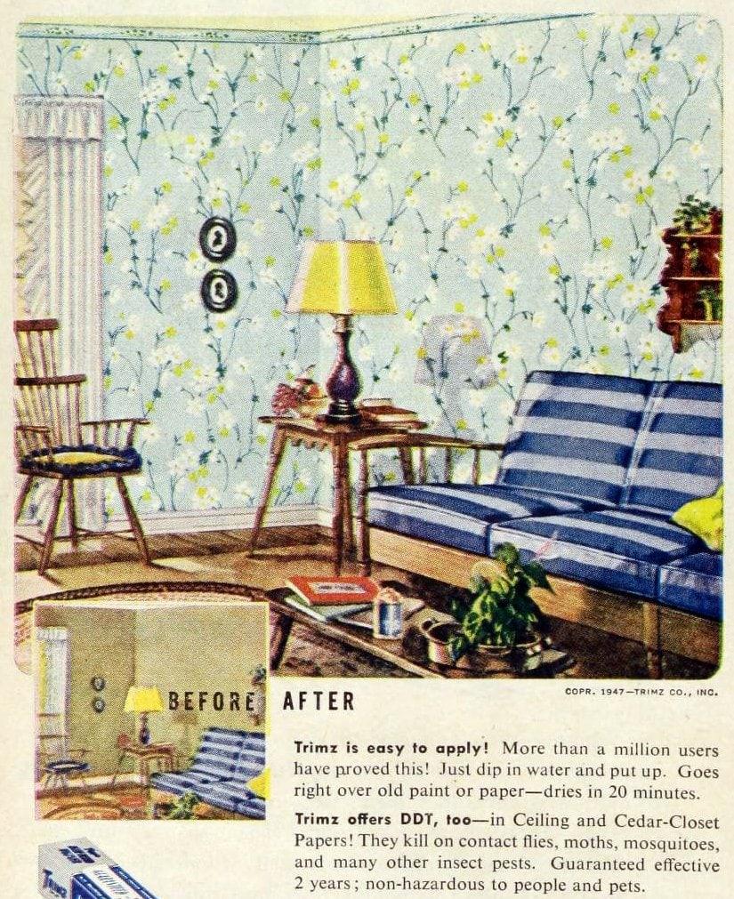 Vintage 1940s wallpaper with DDT insecticide embedded