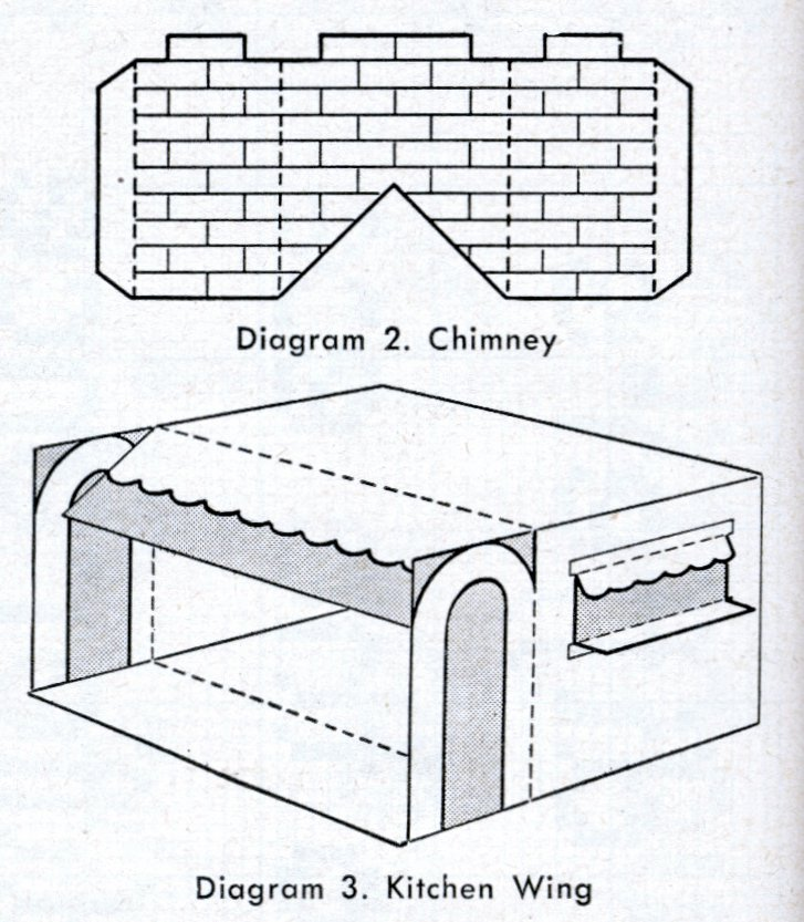 Vintage 1950 cardboard dollhouse chimney and kitichen wing diagrams