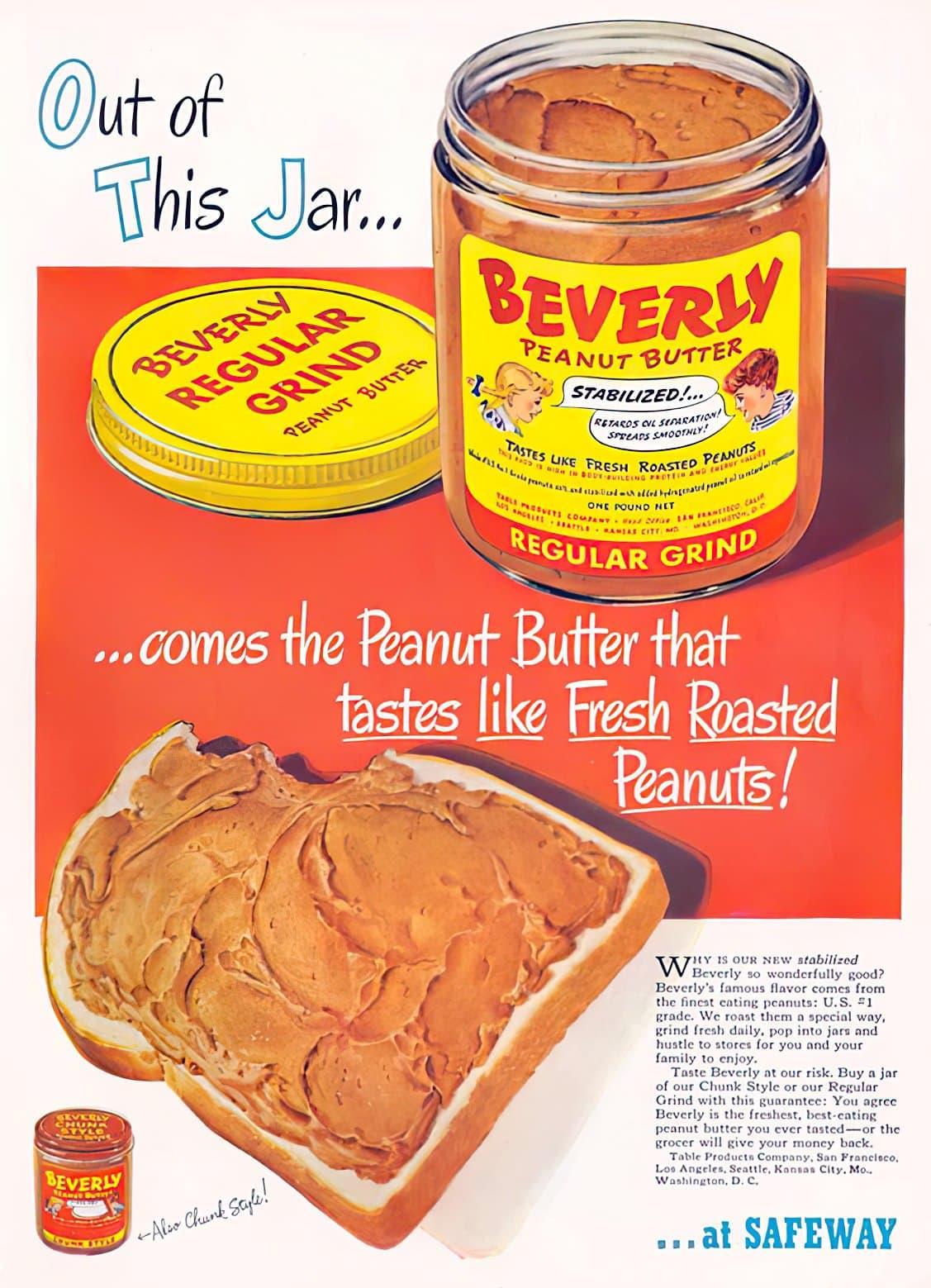 Vintage 1950s Beverly peanut butter at Safeway