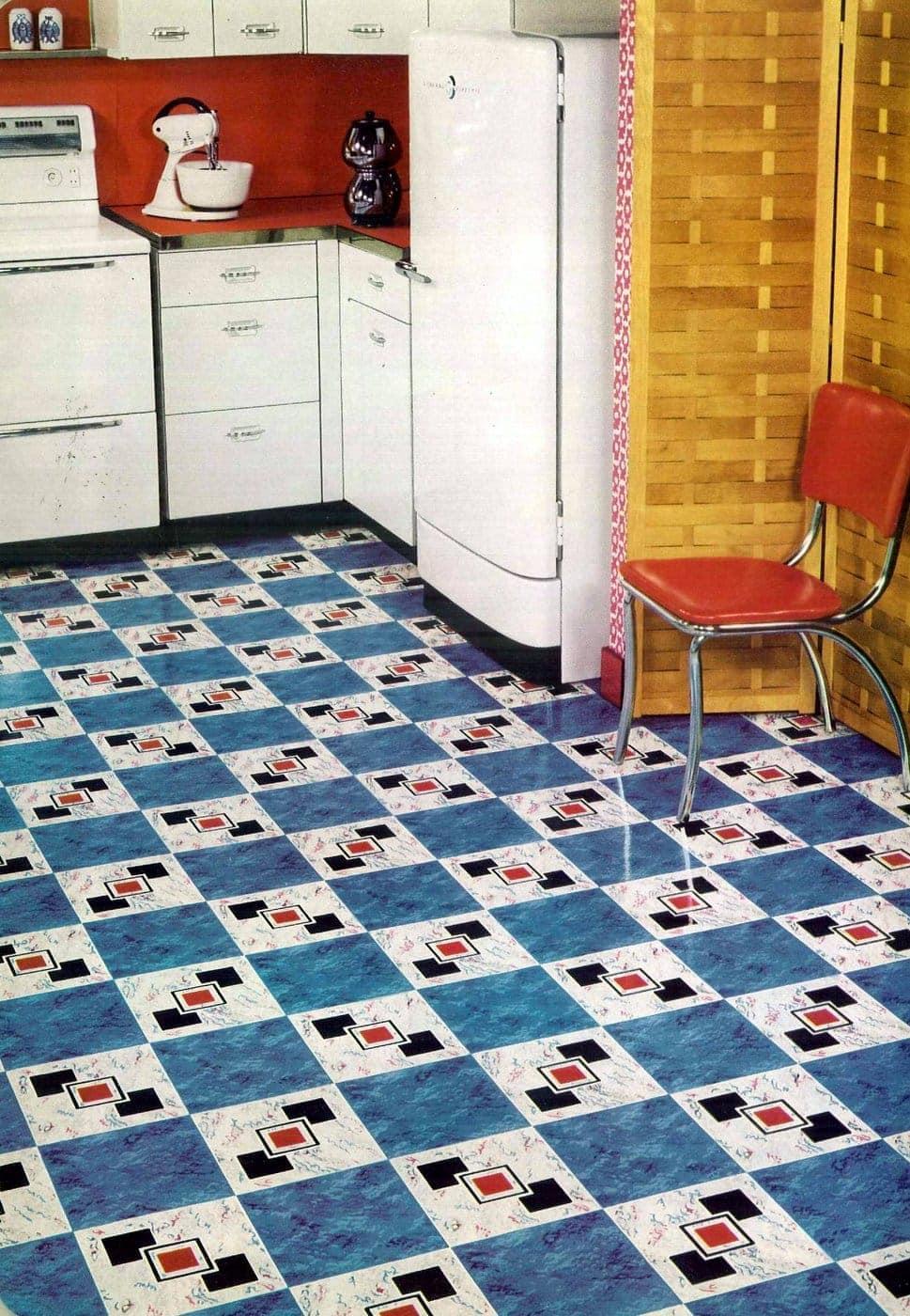 Vintage 1950s Bird Armorlite vinyl kitchen flooring with squares