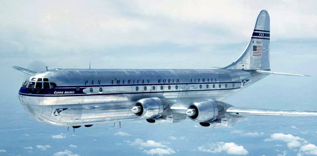 Vintage 1950s Boeing 377 Stratocruiser airplane - Pan American PAA