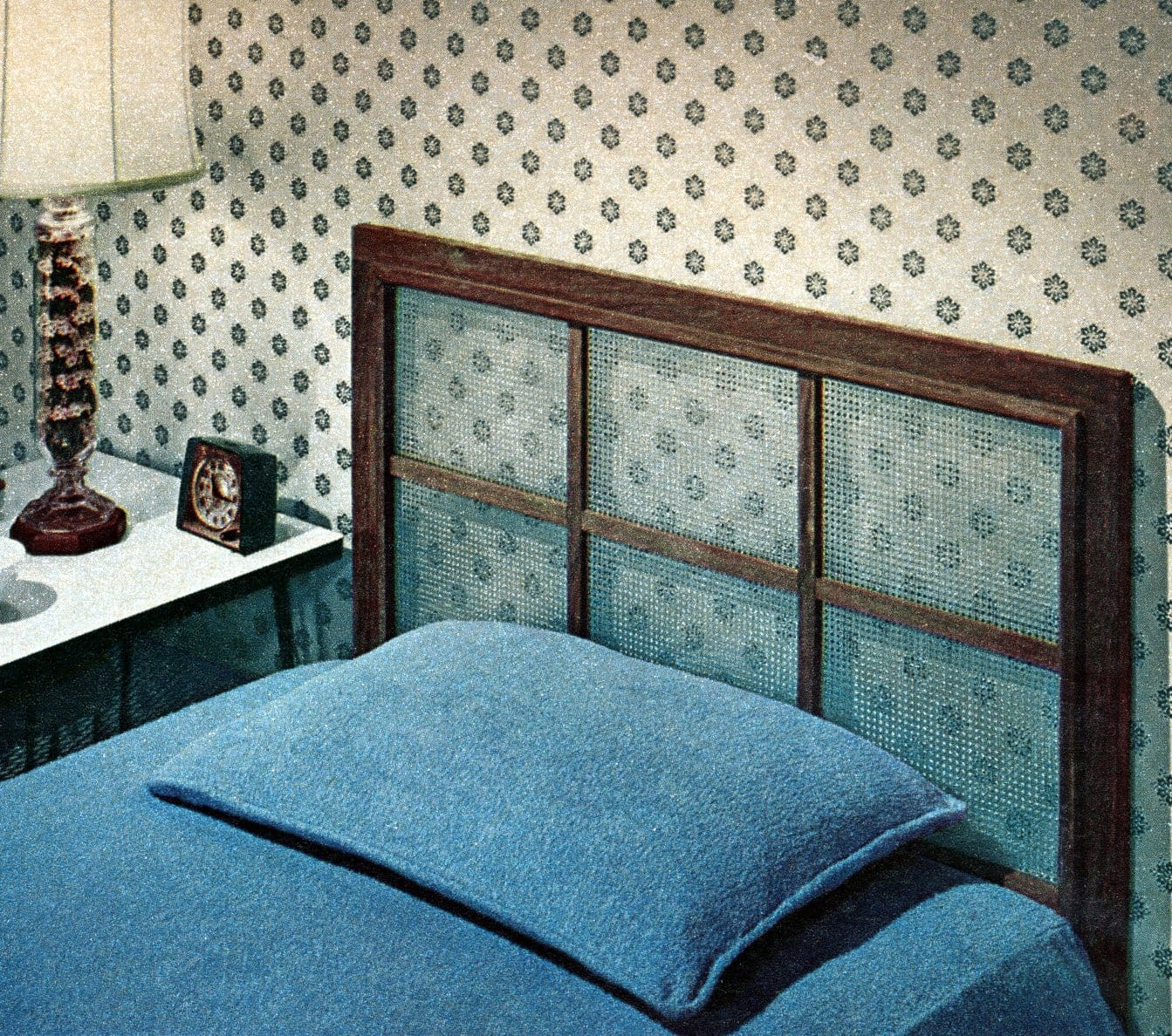 Vintage 1950s DIY window-screen style bed headboard