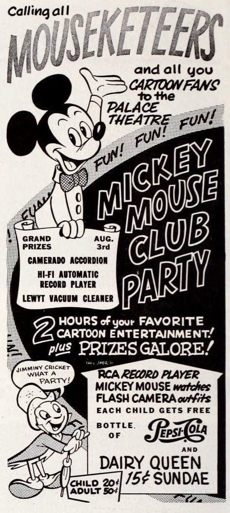Vintage 1950s Dairy Queen - Disney Mouseketeers