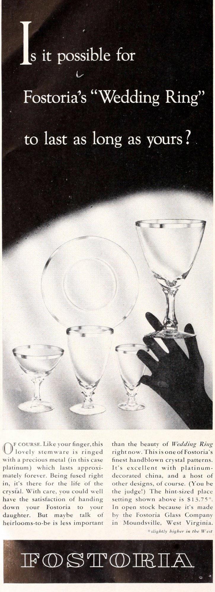 Vintage 1950s Fostoria Wedding Ring glassware (1955)