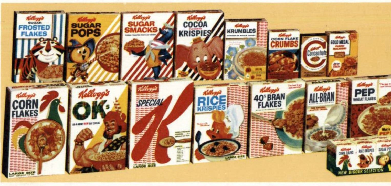 Vintage 1950s Kellogg's cereal lineup as of 1959