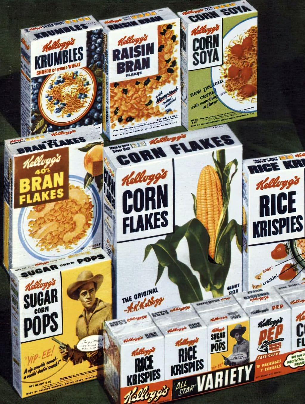 Vintage 1950s Kellogg's product lineup as of 1951