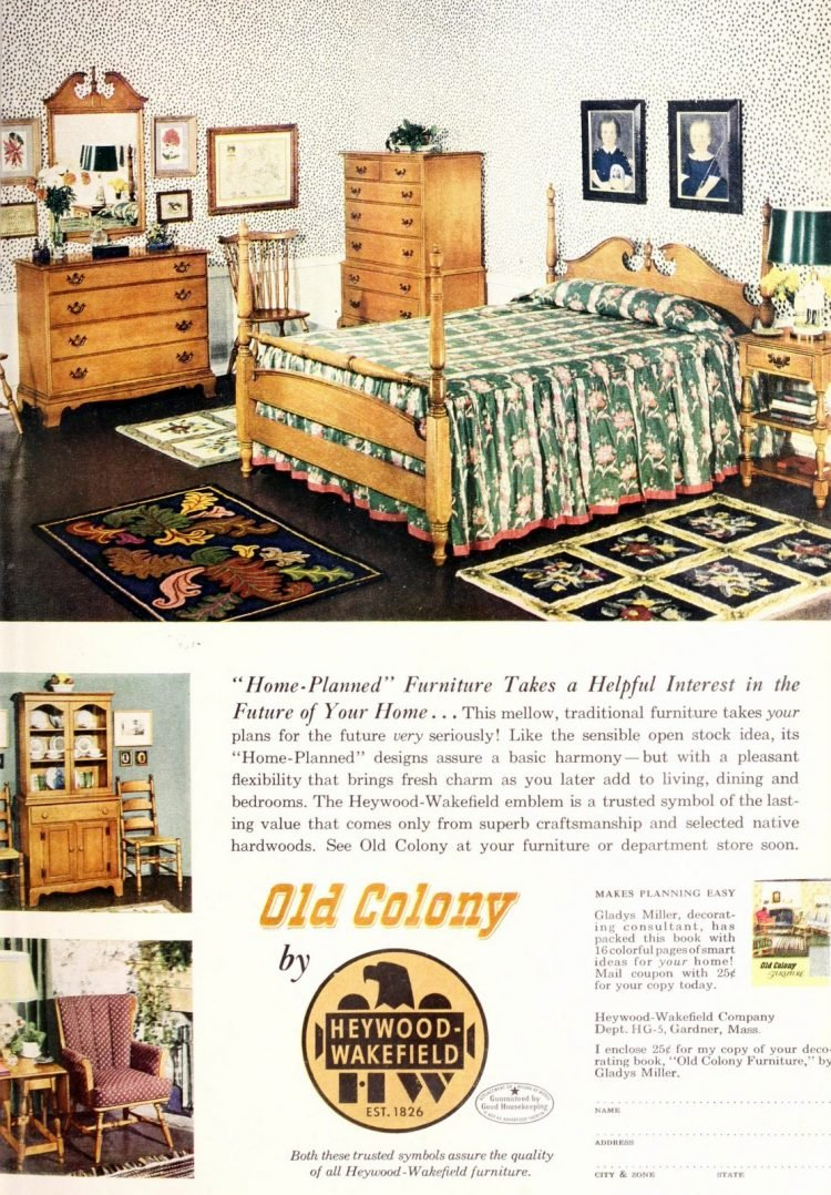 Vintage 1950s Old Colony main bedroom furniture