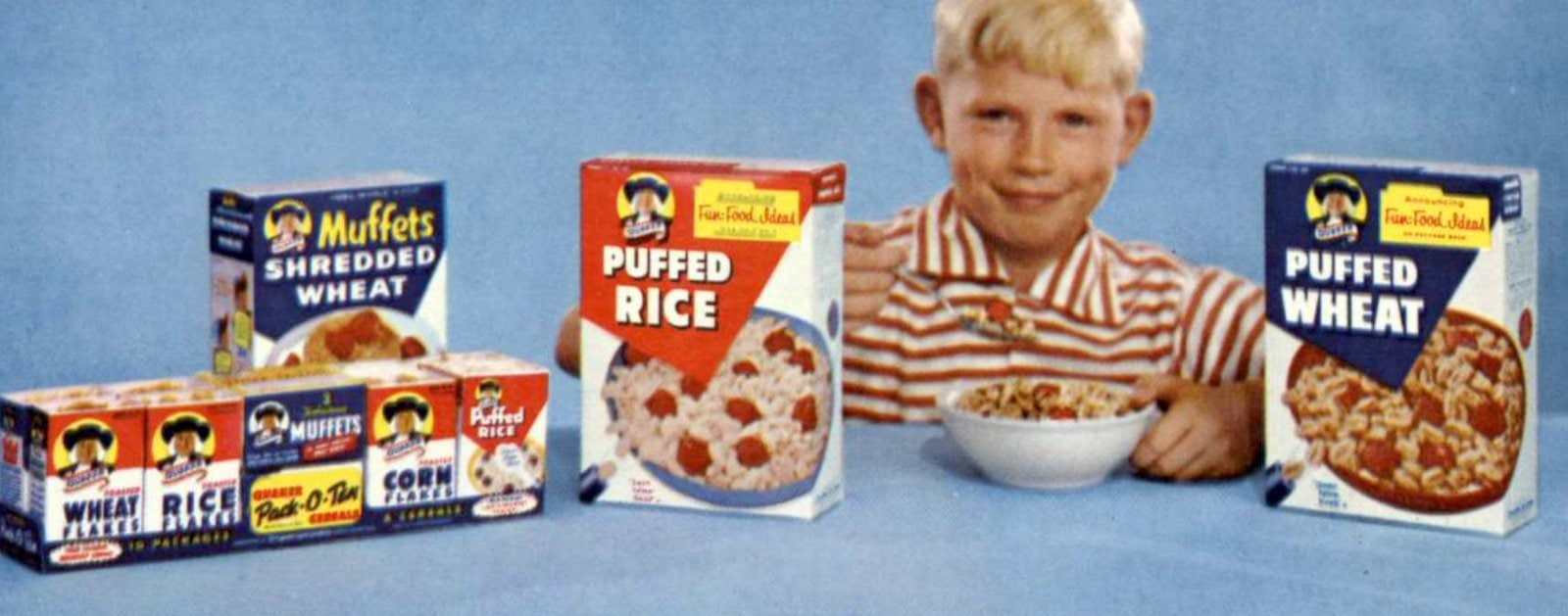 Vintage 1950s Quaker cereal lineup as of 1959