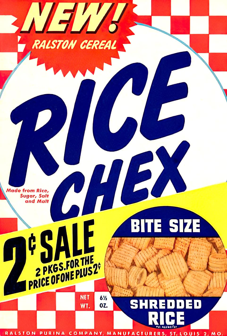 Vintage 1950s Ralston Rice Chex cereal