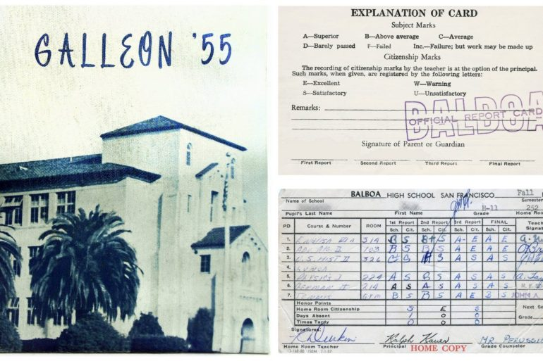 Vintage 1950s San Francisco junior high & high school report cards from one of Jerry Garcia's old classmates