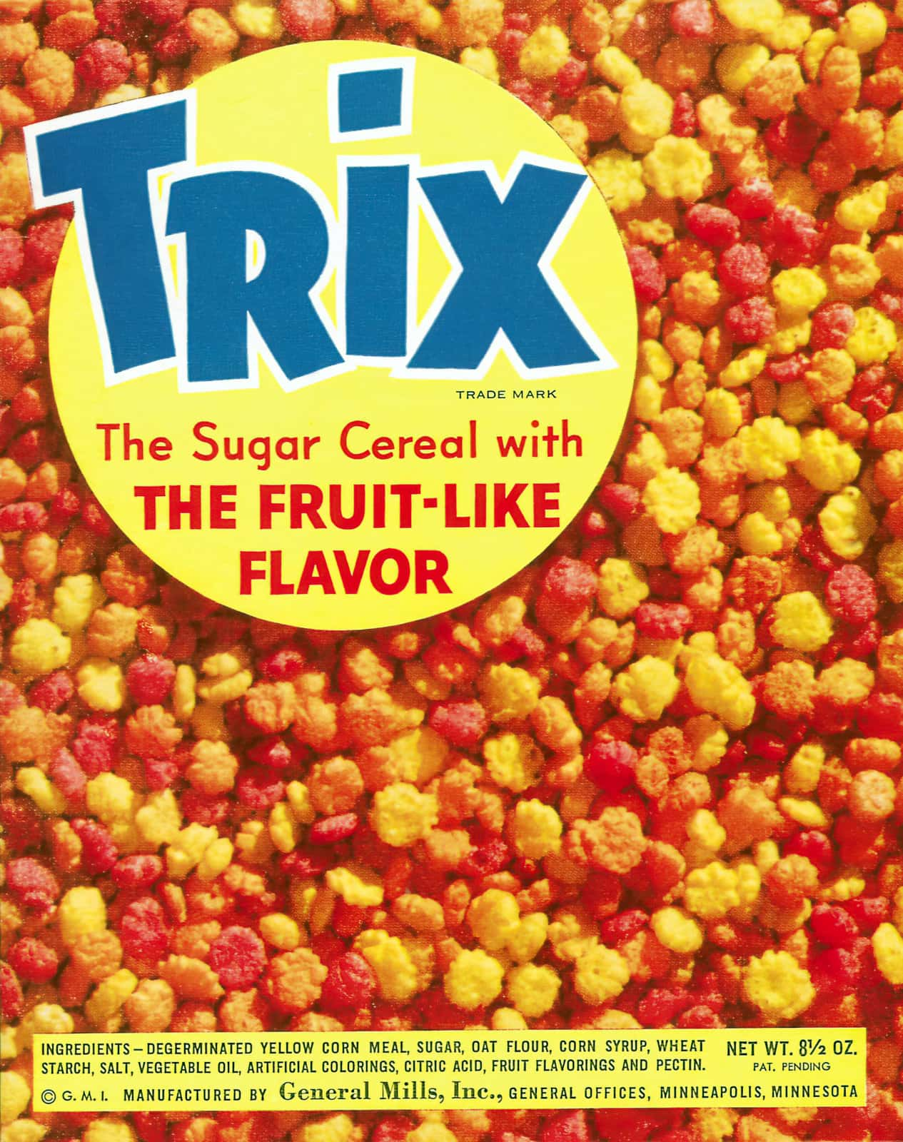 Vintage 1950s Trix cereal box