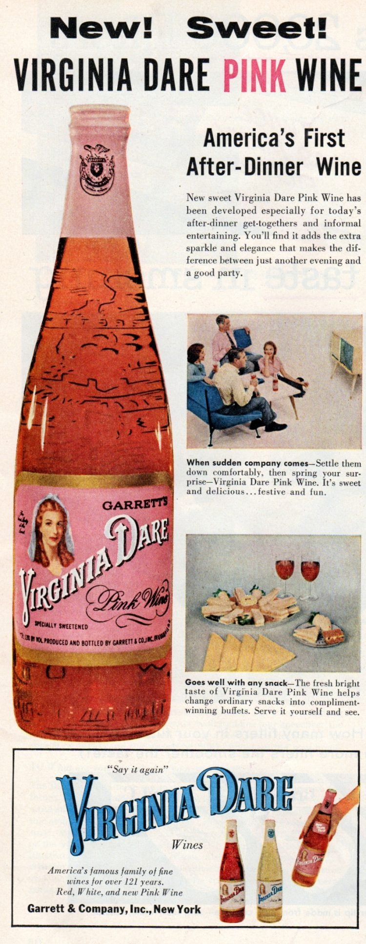 Vintage 1950s Virginia Dare Pink Wine