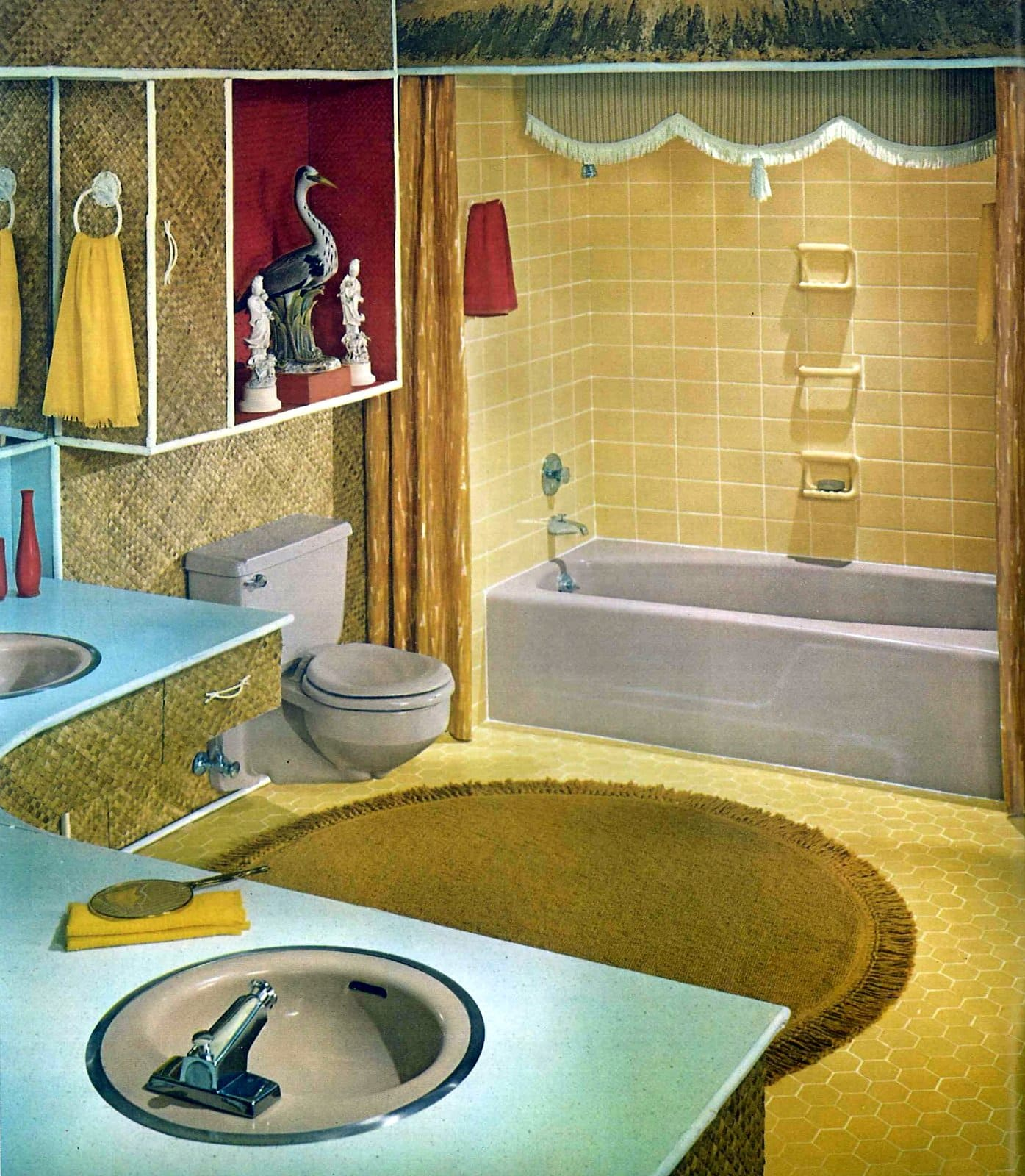 Vintage 1950s bathroom in yellow and aqua with gray fixtures