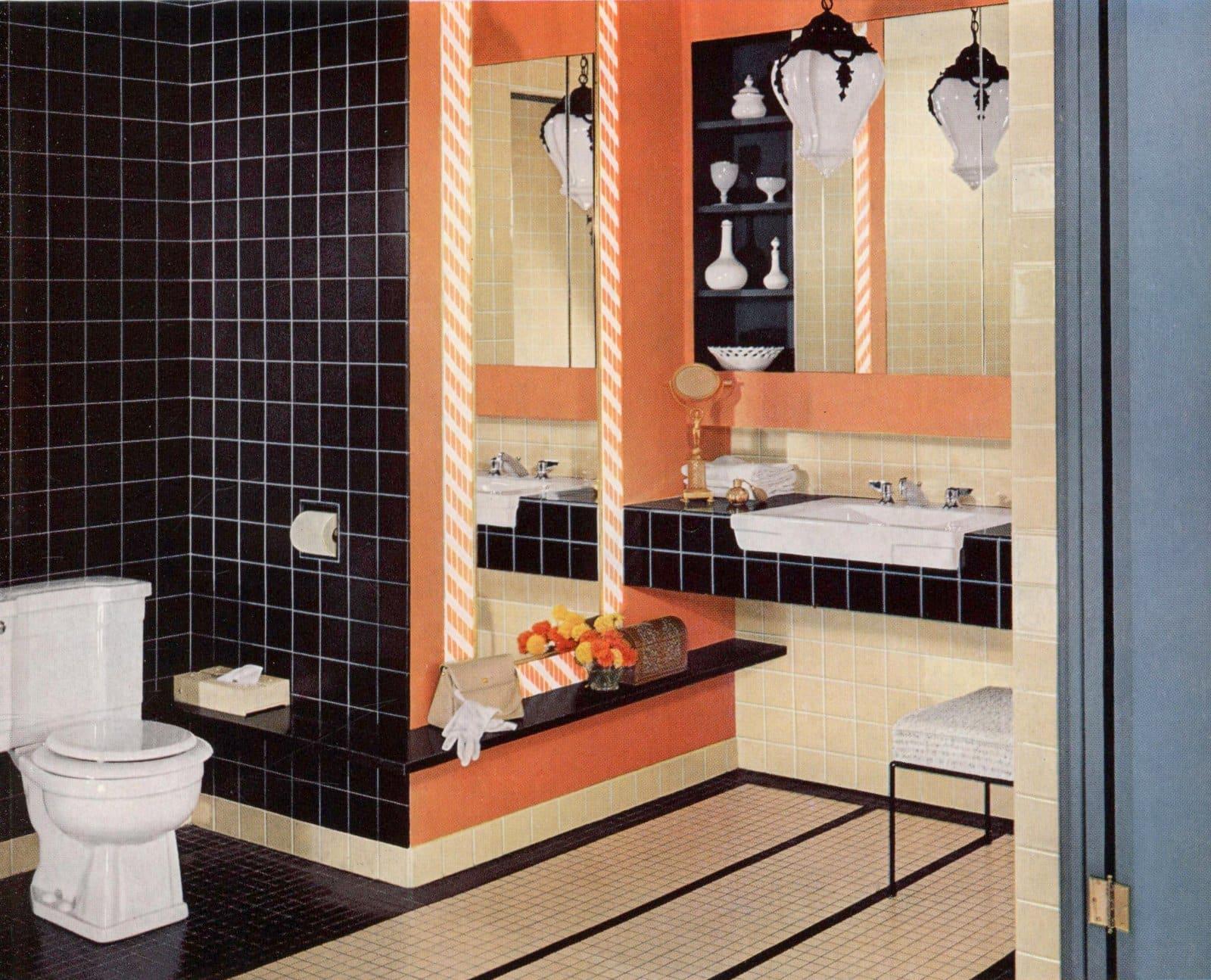 Vintage 1950s bathroom with dark blue tile and orange
