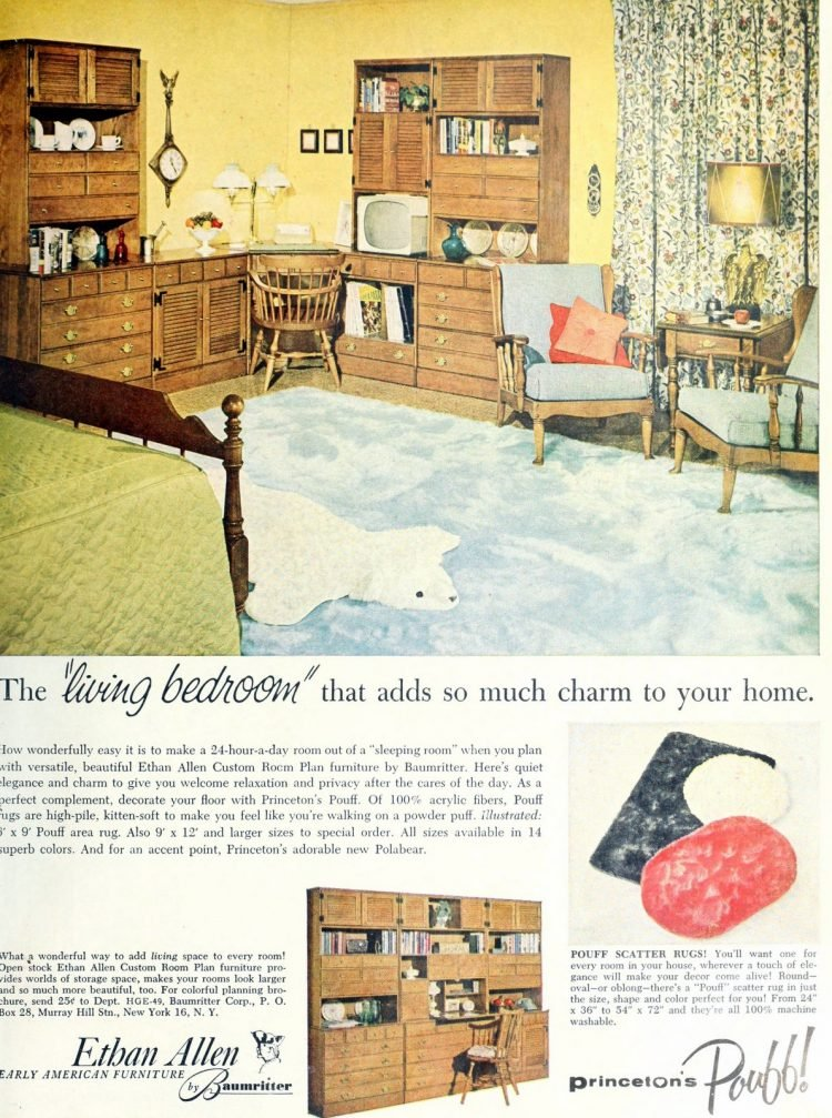 Vintage 1950s bedroom decor with wooden shelves and cabinetry