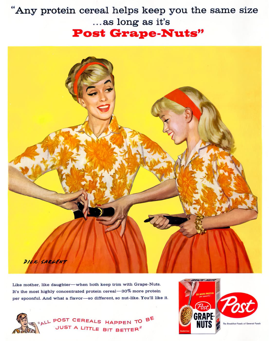 Vintage 1950s dieting with Post Grape Nuts cereal