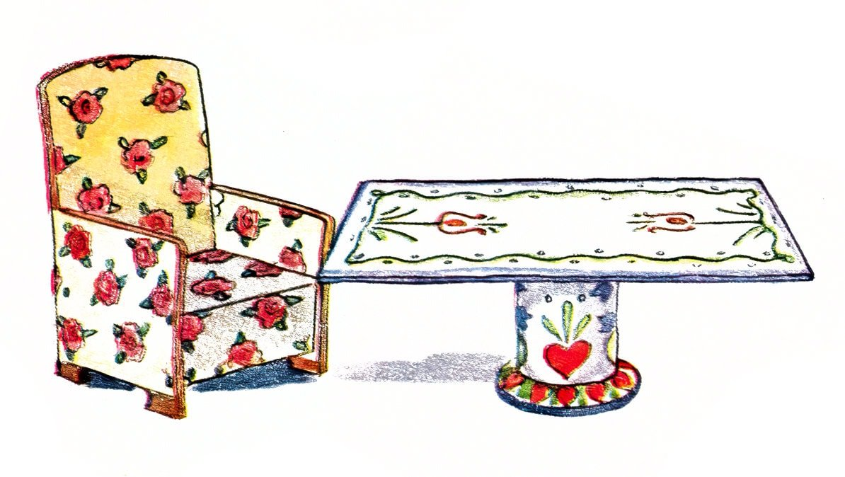 Vintage 1950s dollhouse furniture idea - folk-art table and chair