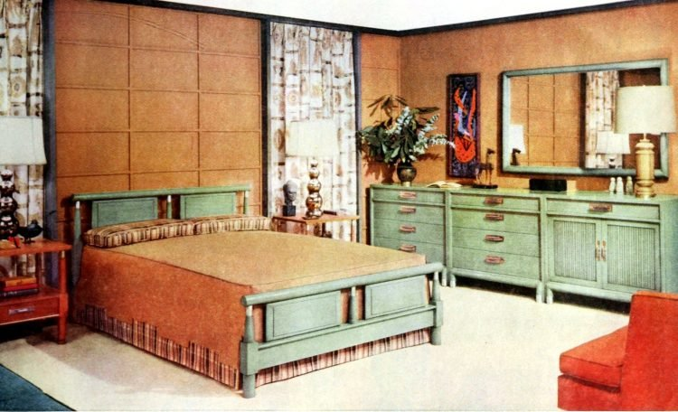 Vintage 1950s master bedroom decor - Brown walls and green furniture