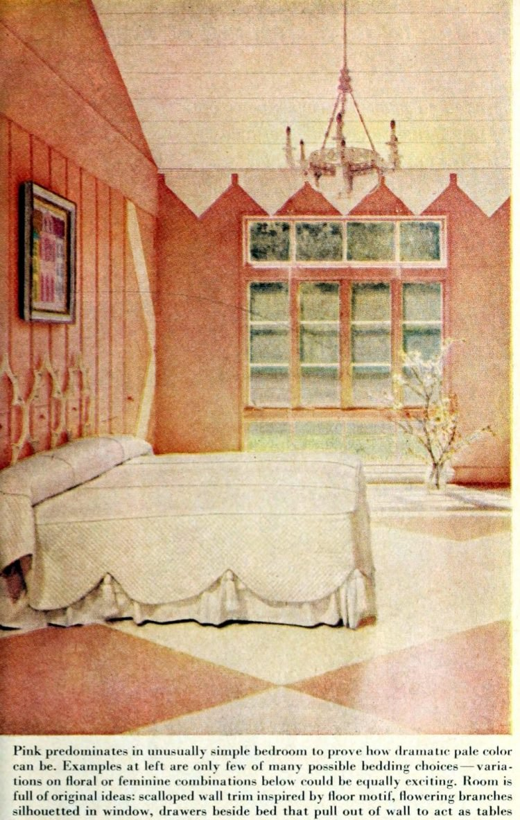 Vintage 1950s master bedroom decor - Calming pink and white