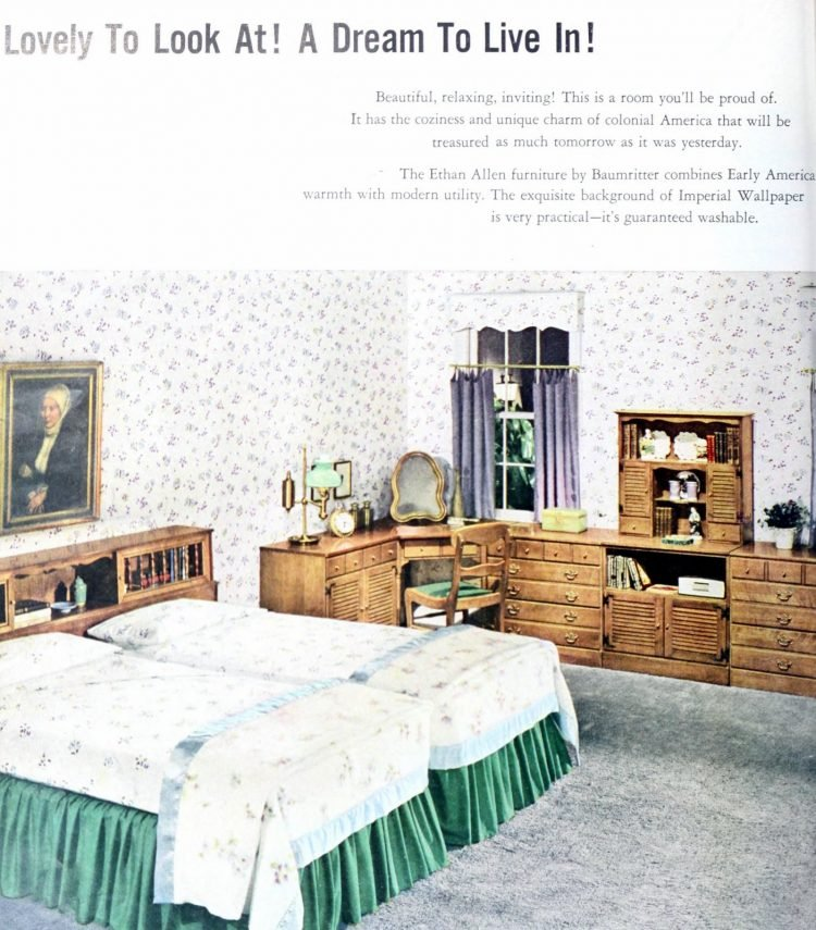 Vintage 1950s master bedroom decor - Floral wallpaper and two twin beds