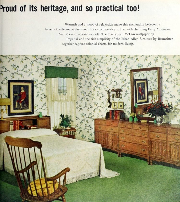 Vintage 1950s master bedroom decor - Old-fashioned green and white with wood