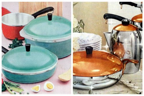 Vintage 1950s saucepans and kitchenware