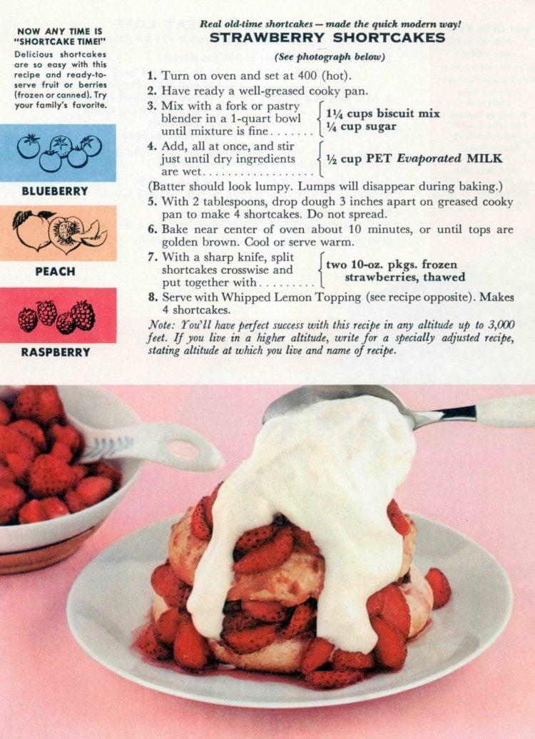 Vintage 1950s strawberry shortcake with evaporated milk recipe