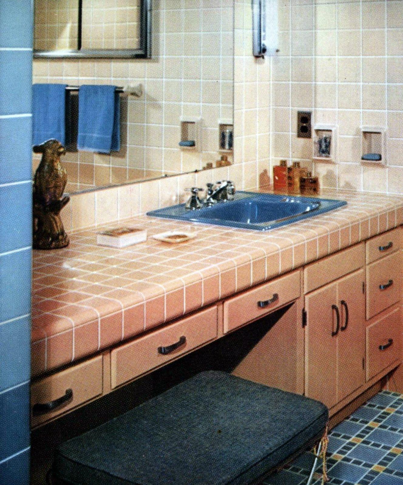 Vintage 1950s tile bathroom design in pink and blue