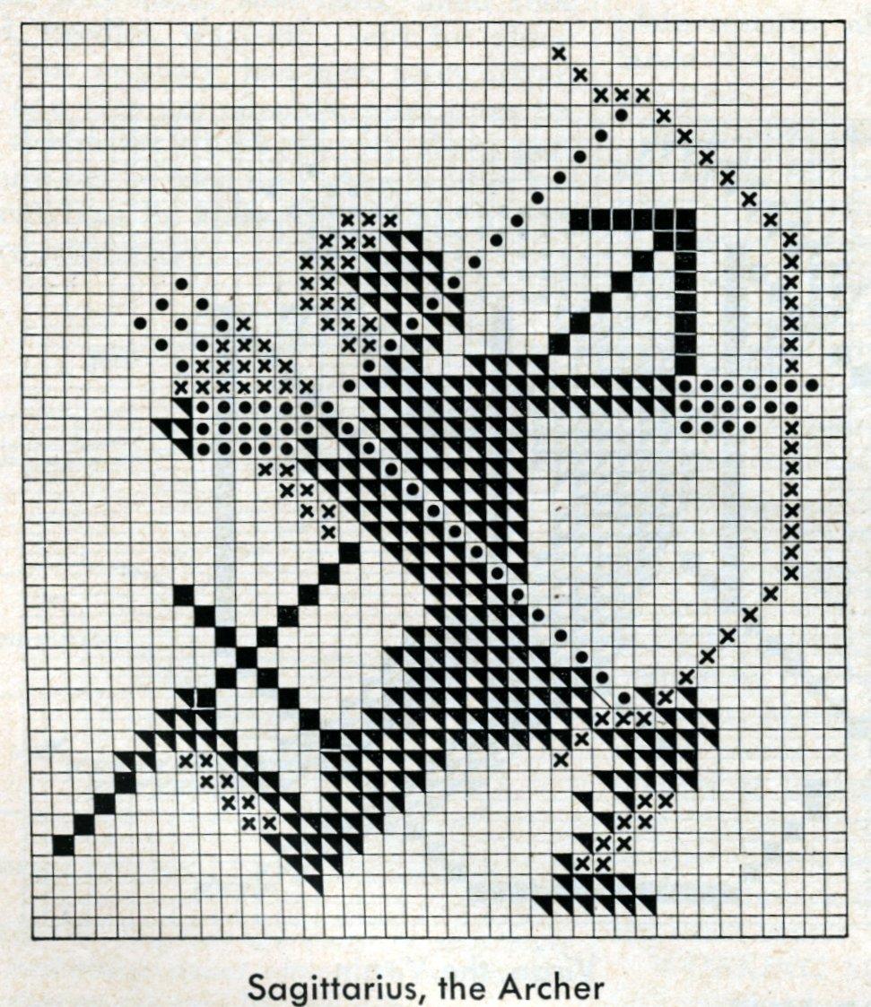 Vintage 1950s zodiac cross-stitch design - Sagittarius the archer