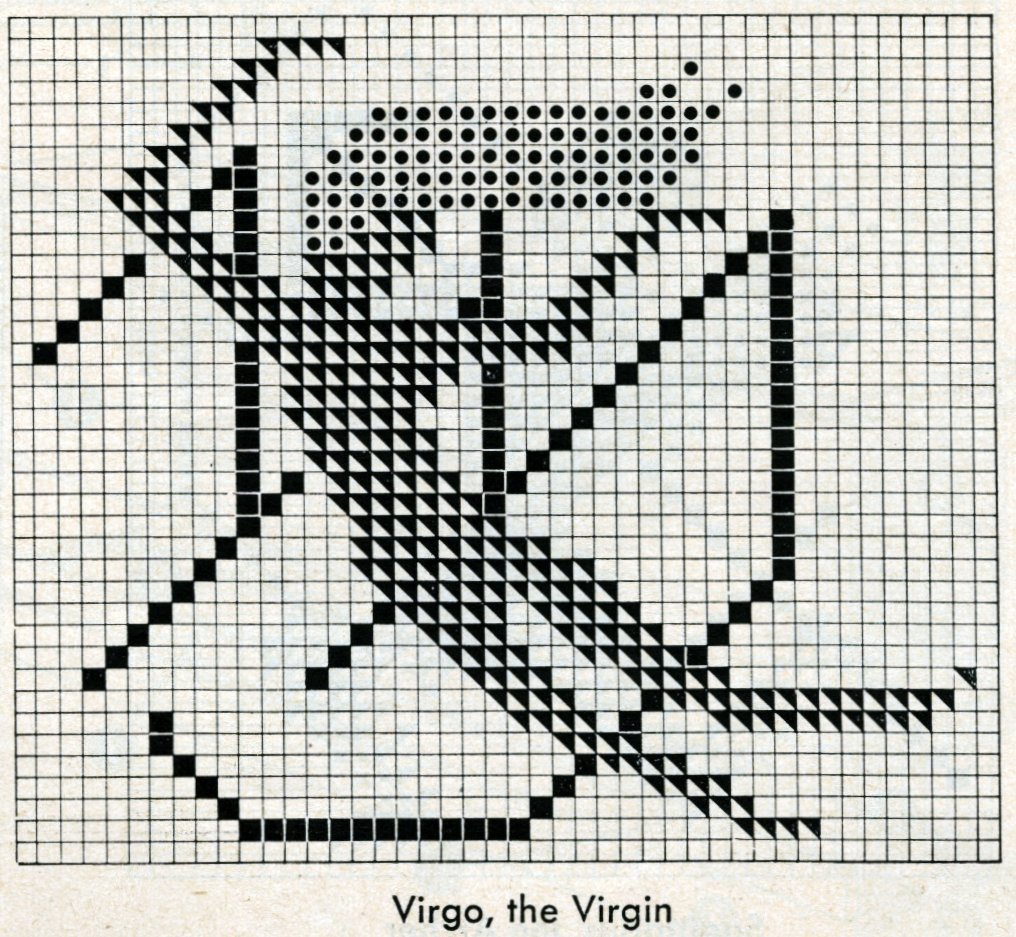 Vintage 1950s zodiac cross-stitch design - Virgo the virgin pattern